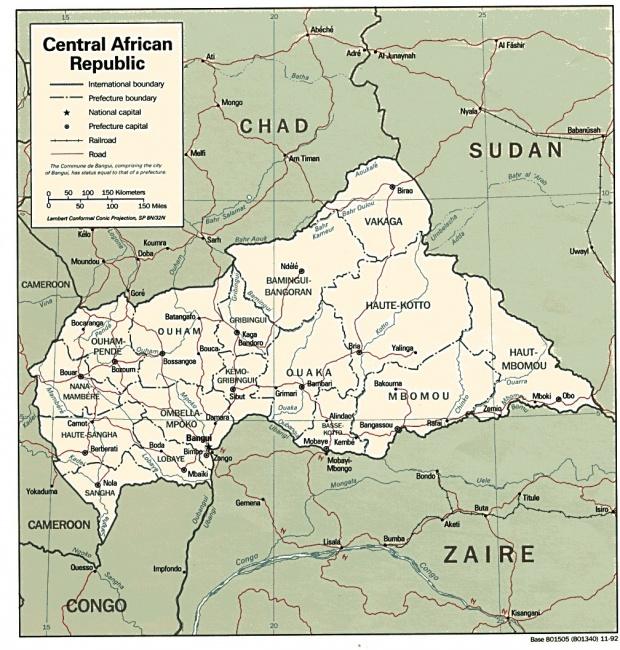 Mapa Politico de la República Centroafricana