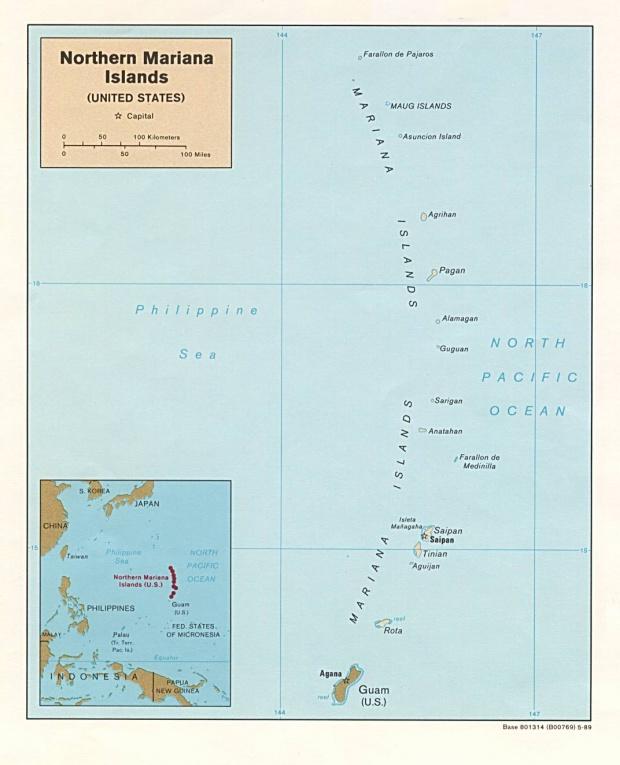 Mapa Politico de las Islas Marianas del Norte
