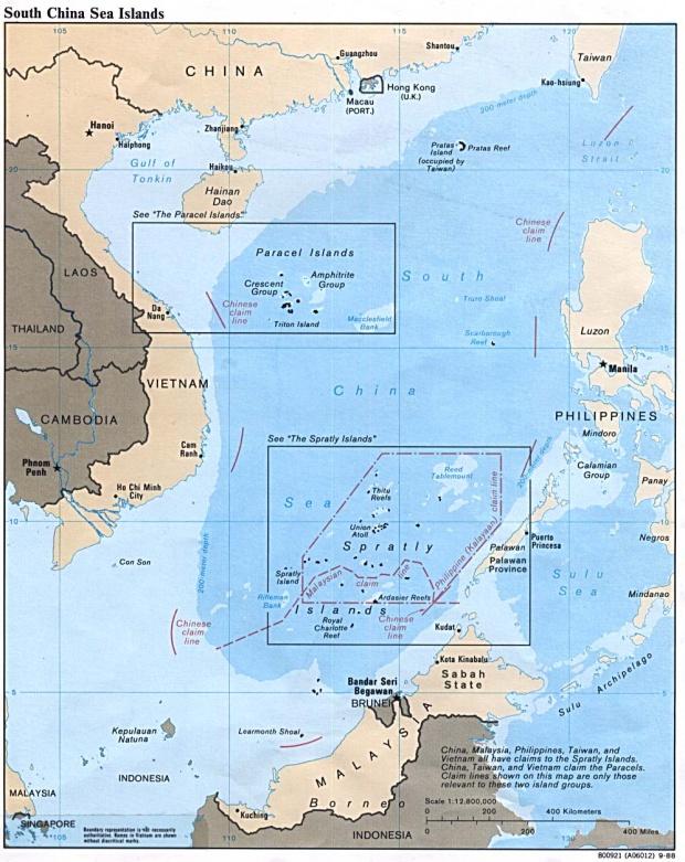 Mapa Politico de las Islas del Mar de la China Meridional