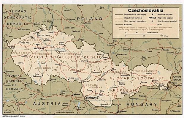 Mapa Politico de las Repúblicas Checa y Eslovaca