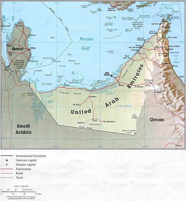 Mapa Politico de los Emiratos Árabes Unidos
