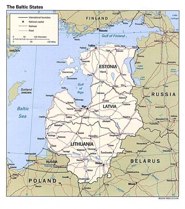 Mapa Politico de los Países Bálticos 1994