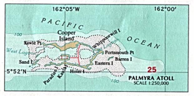 Mapa Politico del Atolón Palmyra, Estados Unidos