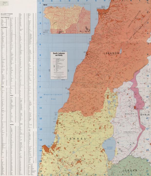 Mapa Politico del Sur de Líbano y Cercanías