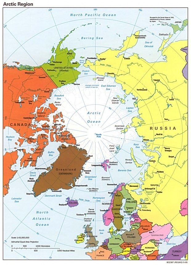 Mapa Politico del Ártico 1995