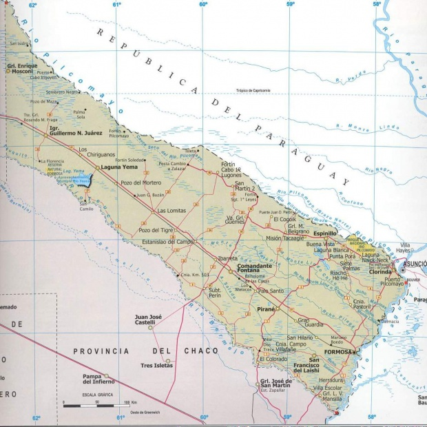 Mapa Provincia Formosa, Argentina