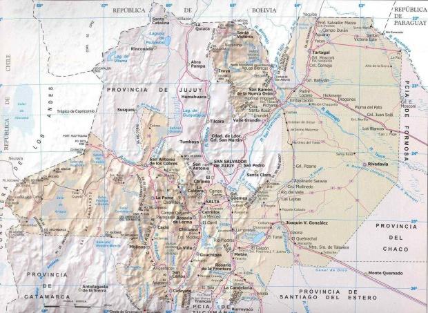 Mapa Provincia Salta, Argentina