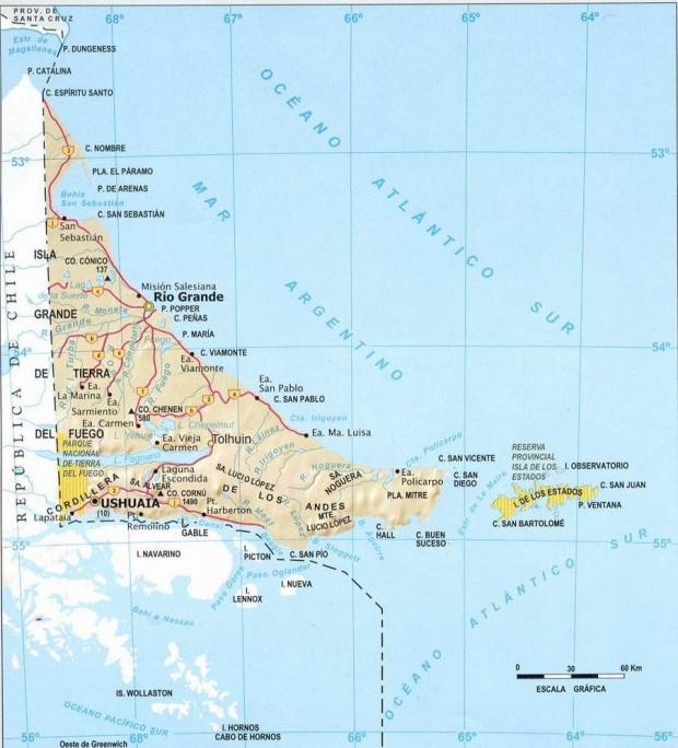 Mapa Provincia Tierra del Fuego, Argentina