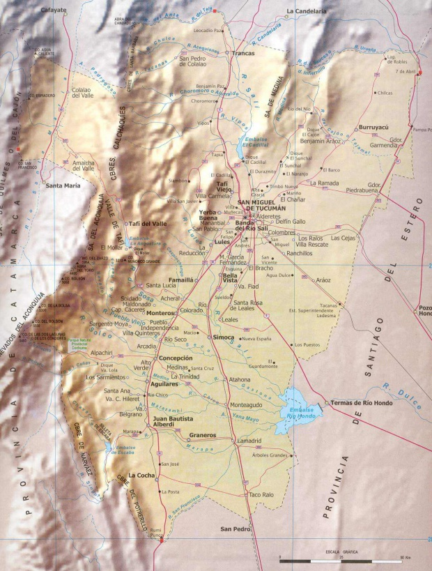 Mapa Provincia Tucumán, Argentina