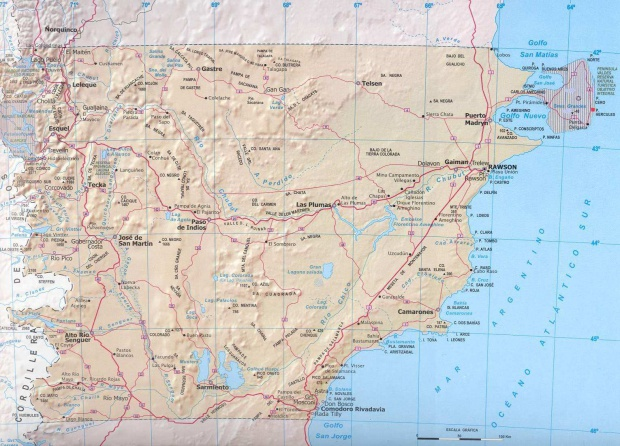 Mapa Provincia de Chubut, Argentina
