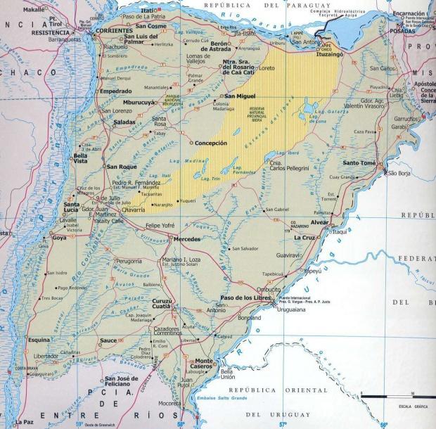 Mapa Provincia de Corrientes, Argentina