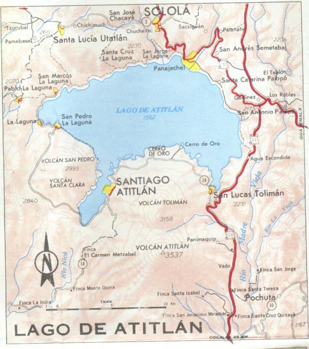 Mapa Region de Panajachel y Lago de Atitlán, Guatemala