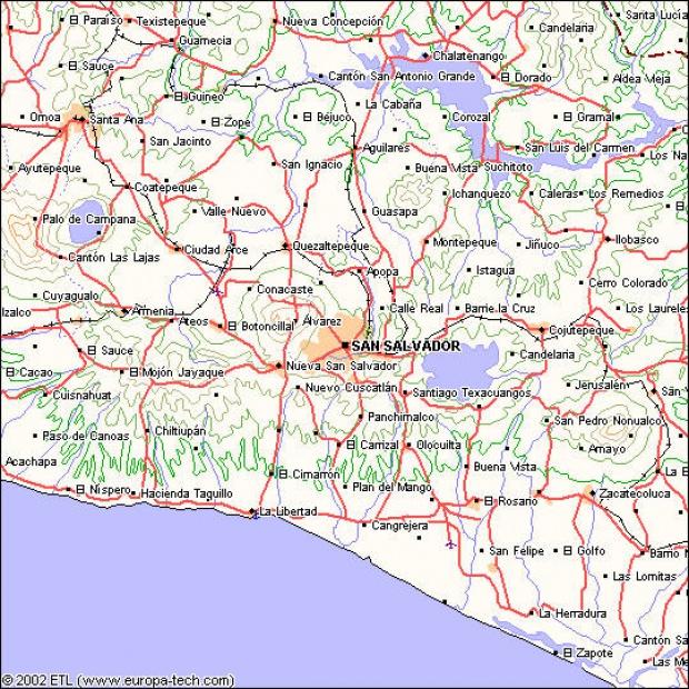 Mapa Region de San Salvador, El Salvador
