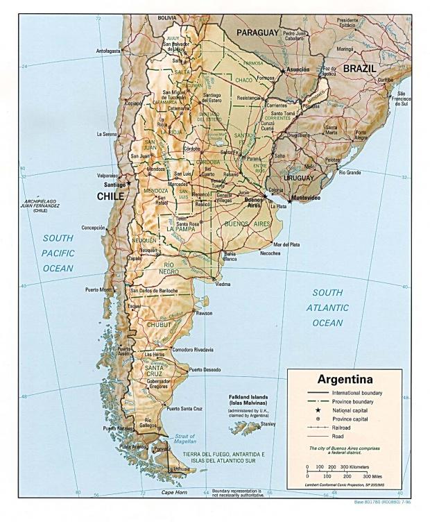 Mapa Relieve Sombreado de Argentina