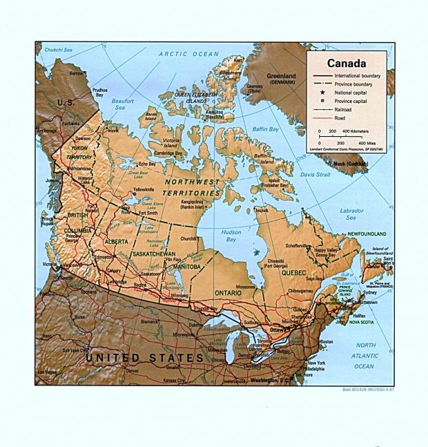 Mapa Relieve Sombreado de Canadá