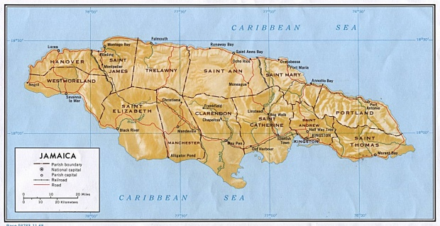 Mapa Relieve Sombreado de Jamaica