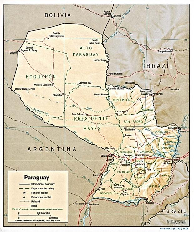 Mapa Relieve Sombreado de Paraguay