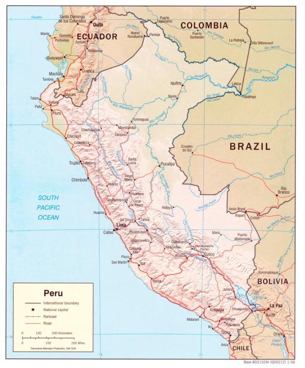 Mapa Relieve Sombreado de Perú
