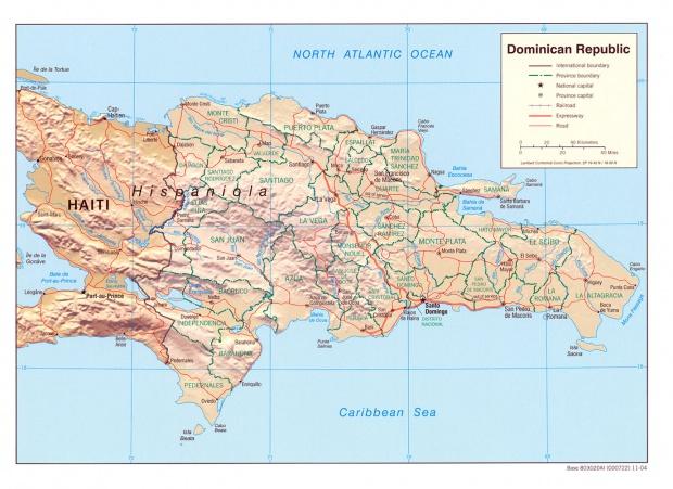 Mapa Relieve Sombreado de República Dominicana
