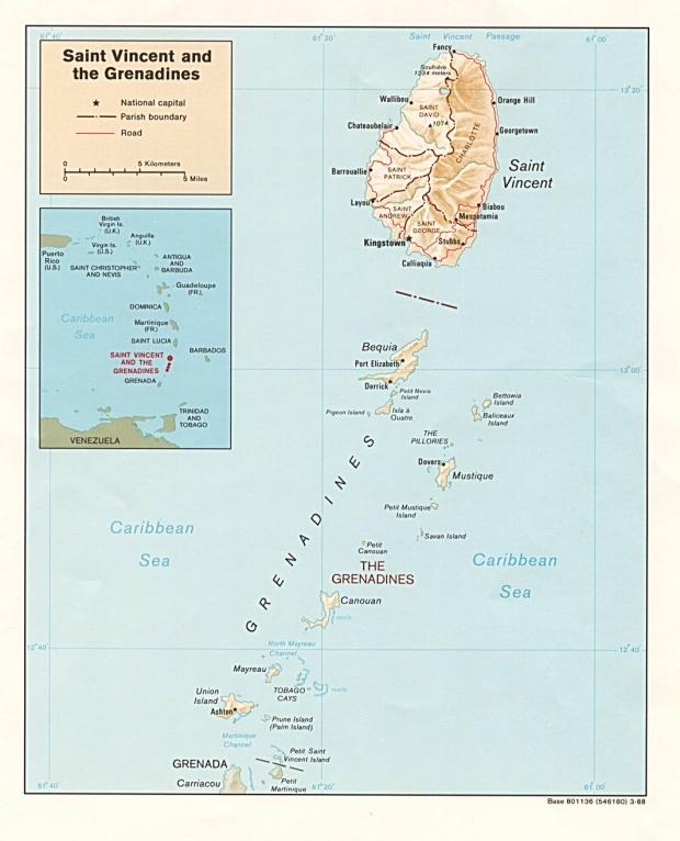 Mapa Relieve Sombreado de San Vicente y las Granadinas