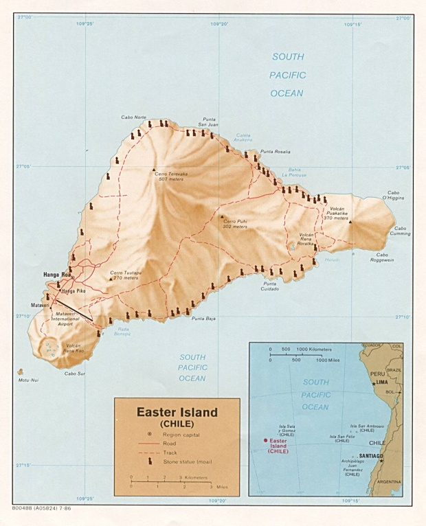 Mapa Relieve Sombreado de la Isla de Pascua