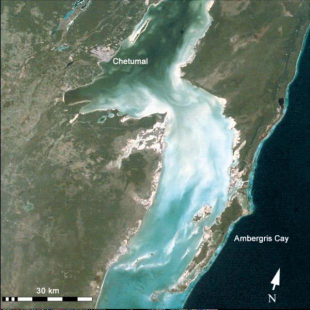 Mapa Satelital de la Frontera Belice y Mexico