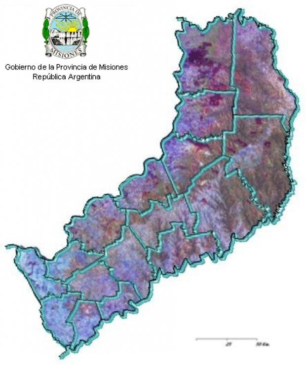 Mapa Satelite, Provincia Misiones, Argentina