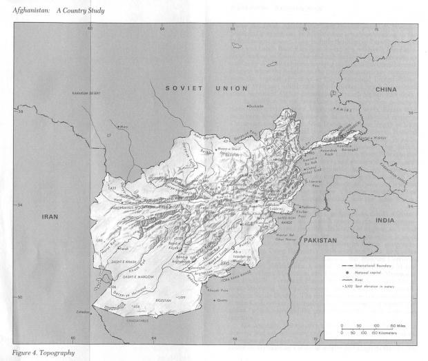 Mapa Topográfico de Afganistán