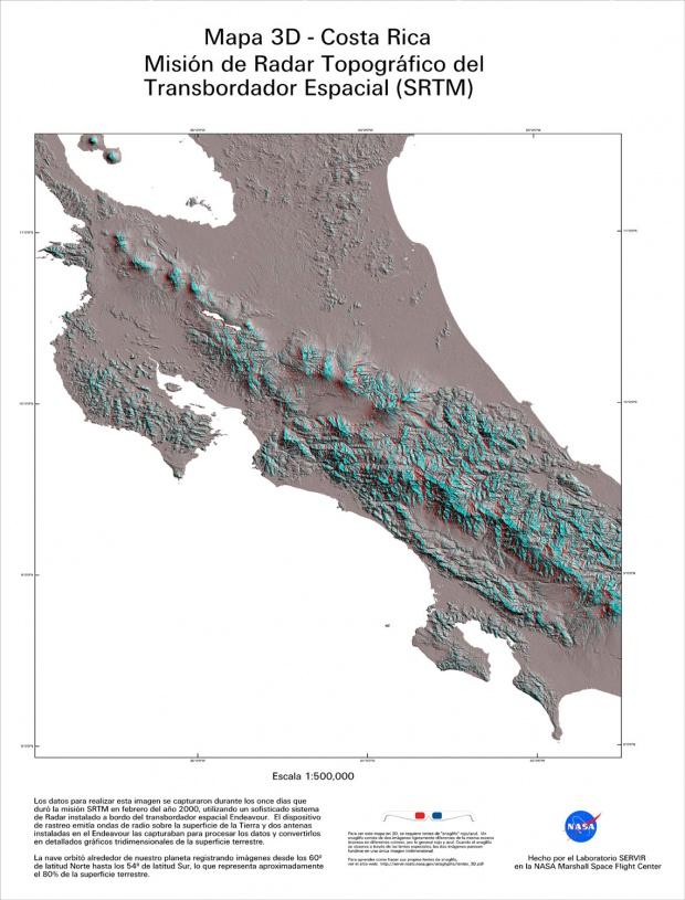 Mapa Topográfico de Costa Rica