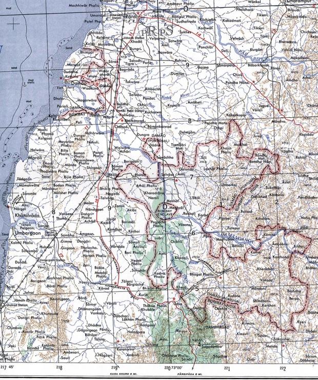 Mapa Topográfico de Damán (Damao), India 1954