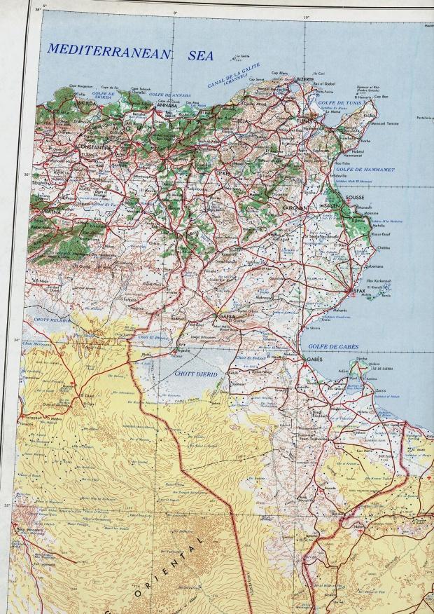 Mapa Topográfico de Túnez