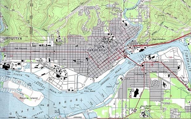 Mapa Topográfico de la Ciudad de Aberdeen, Washington, Estados Unidos