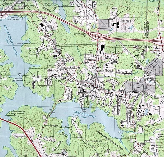 Mapa Topográfico de la Ciudad de Acworth, Georgia, Estados Unidos