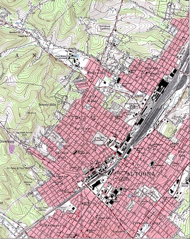 Mapa Topográfico de la Ciudad de Altoona, Pensilvania, Estados Unidos