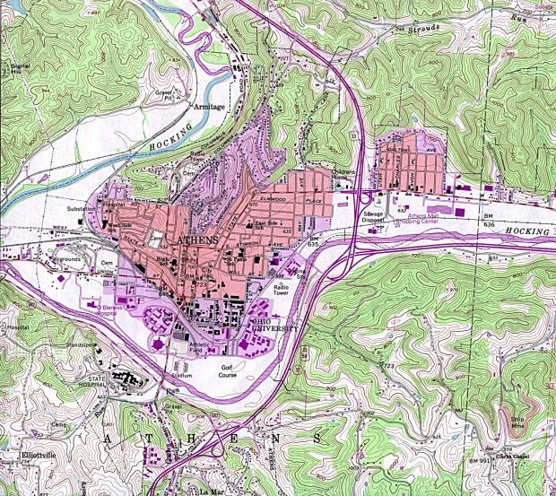 Mapa Topográfico de la Ciudad de Atenas, Ohio, Estados Unidos