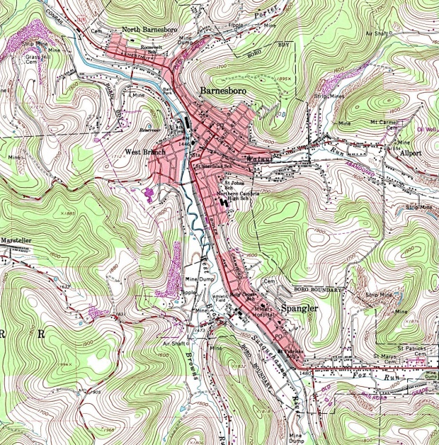 Mapa Topográfico de la Ciudad de Barnesboro, Pensilvania, Estados Unidos