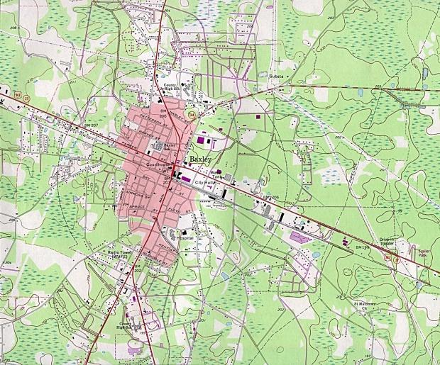 Mapa Topográfico de la Ciudad de Baxley, Georgia, Estados Unidos