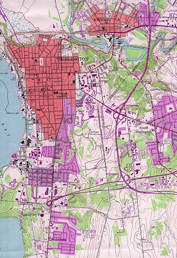 Mapa Topográfico de la Ciudad de Burlington, Vermont, Estados Unidos