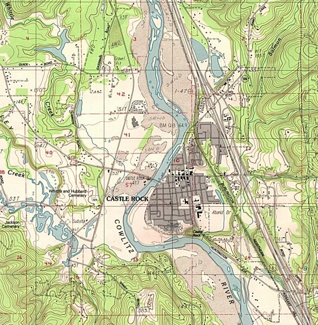Mapa Topográfico de la Ciudad de Castillo Rock, Washington, Estados Unidos