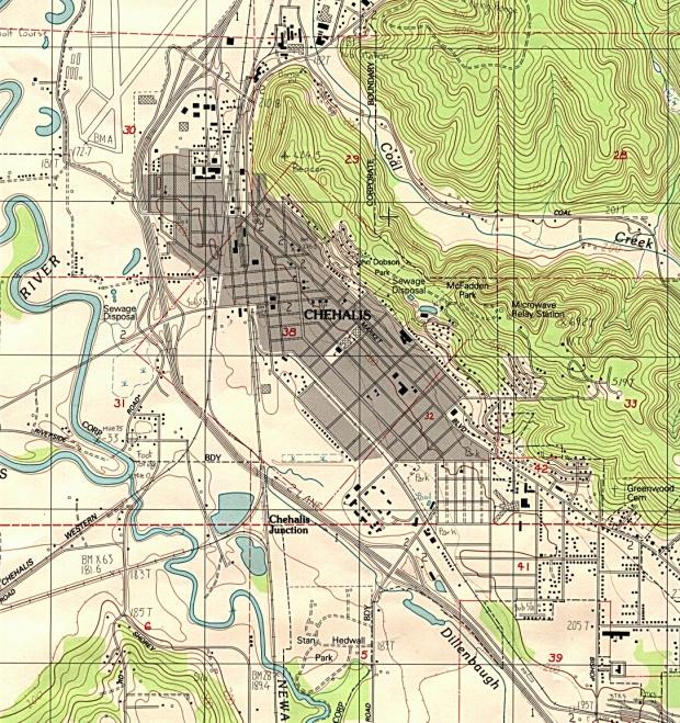 Mapa Topográfico de la Ciudad de Chehalis, Washington, Estados Unidos