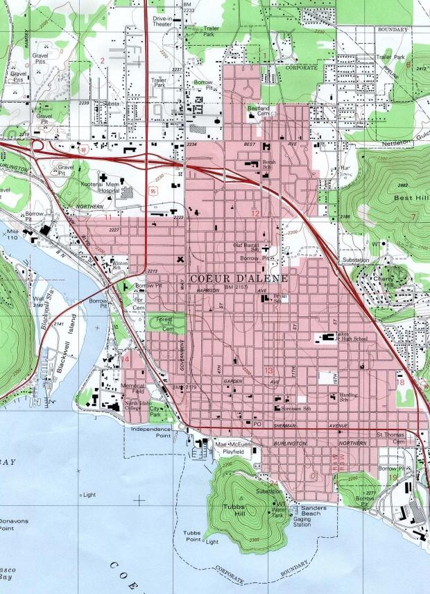 Mapa Topográfico de la Ciudad de Coeur D'Alene, Idaho, Estados Unidos