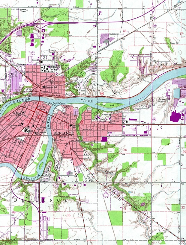 Mapa Topográfico de la Ciudad de Defiance, Ohio, Estados Unidos