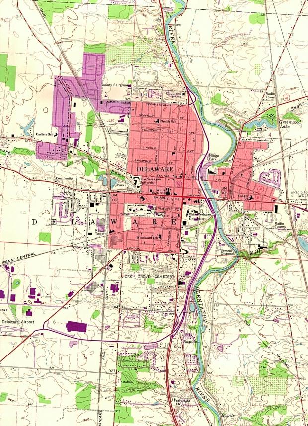 Mapa Topográfico de la Ciudad de Delaware, Ohio, Estados Unidos