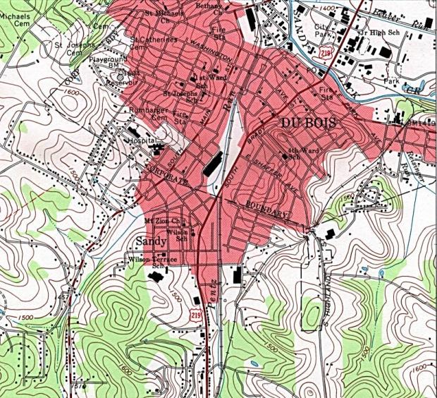 Mapa Topográfico de la Ciudad de Du Bois, Pensilvania, Estados Unidos