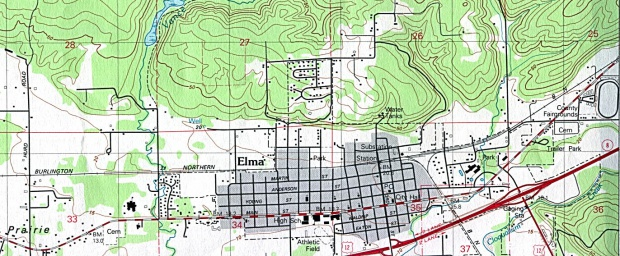 Mapa Topográfico de la Ciudad de Elma, Washington, Estados Unidos