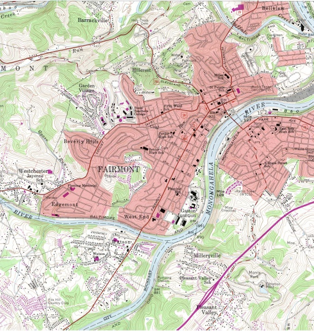 Mapa Topográfico de la Ciudad de Fairmont, Virginia Occidental, Estados Unidos