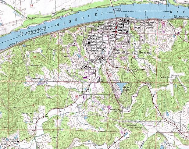 Mapa Topográfico de la Ciudad de Hermann, Missouri, Estados Unidos