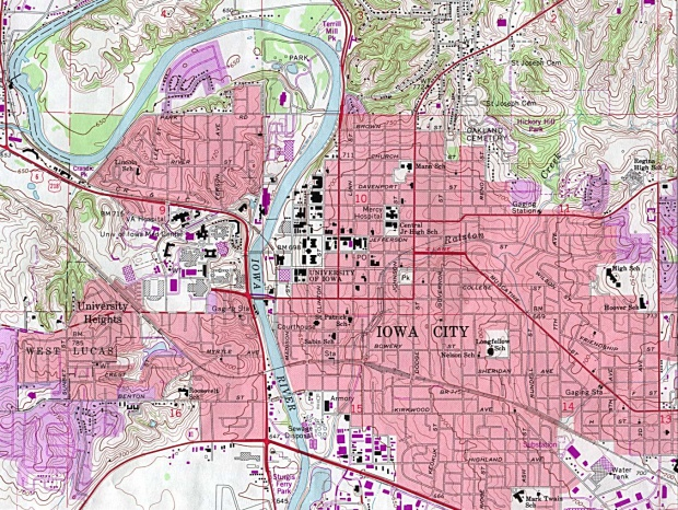 Mapa Topográfico de la Ciudad de Iowa City, Iowa, Estados Unidos
