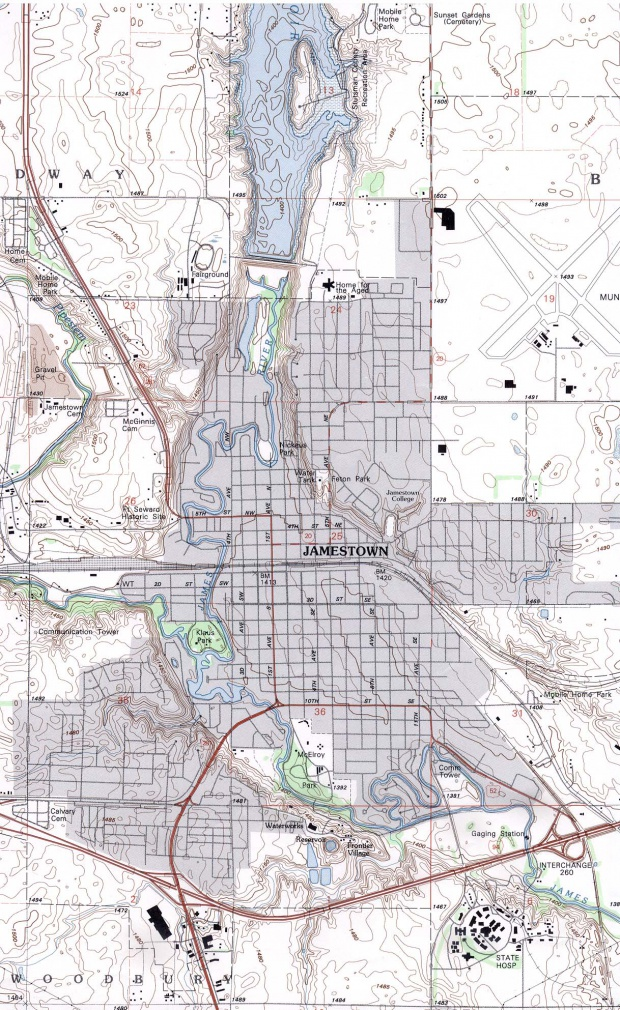 Mapa Topográfico de la Ciudad de Jamestown, Dakota del Norte, Estados Unidos