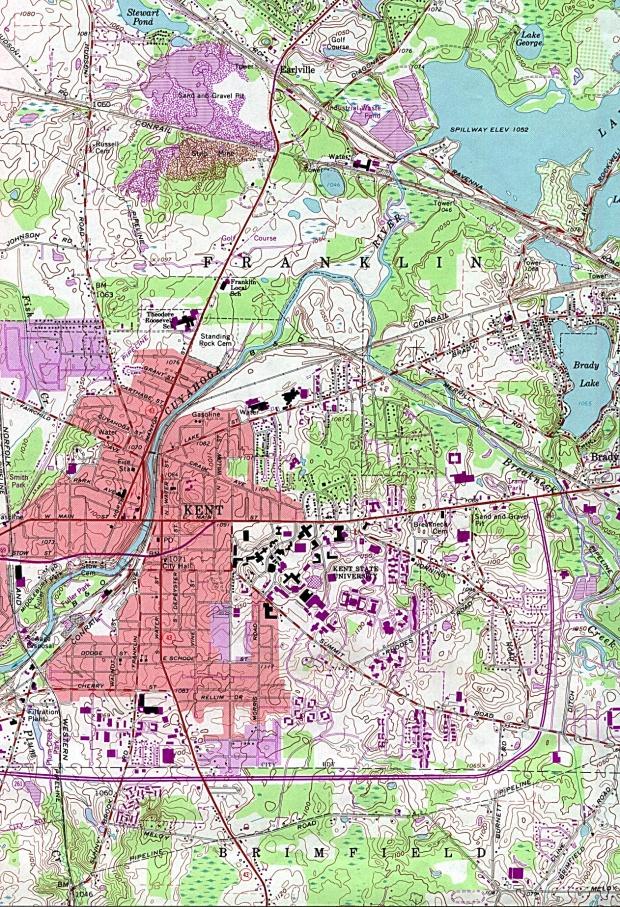 Mapa Topográfico de la Ciudad de Kent, Ohio, Estados Unidos